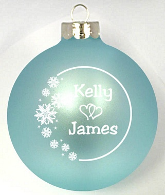 winter wonderland wedding favor light blue or blue mist glass christmas ornament with white imprint