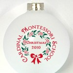 WB Ornament template has red and green wreath and bow with text around and inside