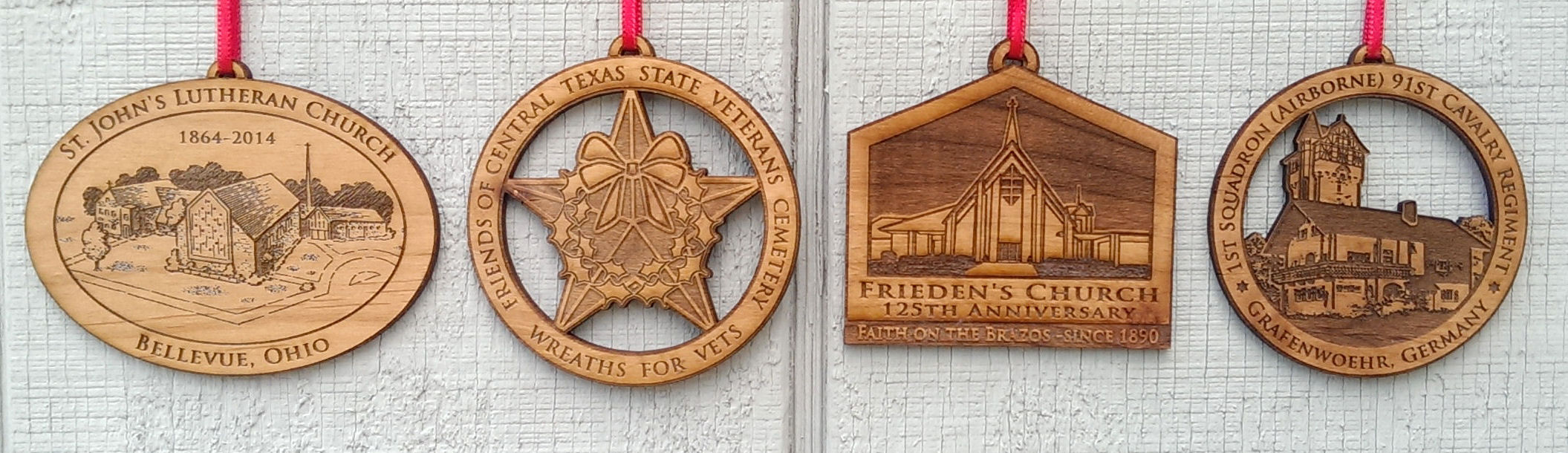 Laser Etched Wood Ornaments with custom logo