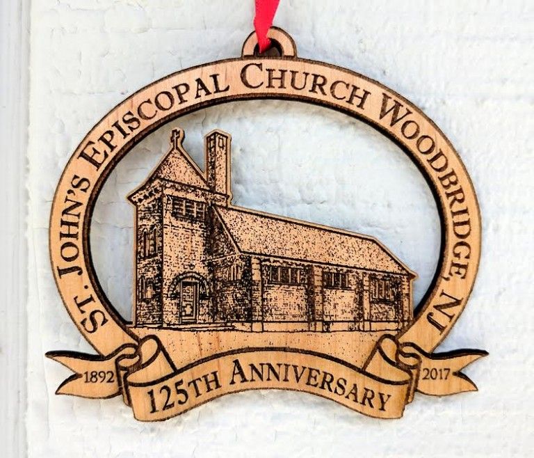 125th Anniversary Custom Wood Ornament for St. Johns Episcopal Church